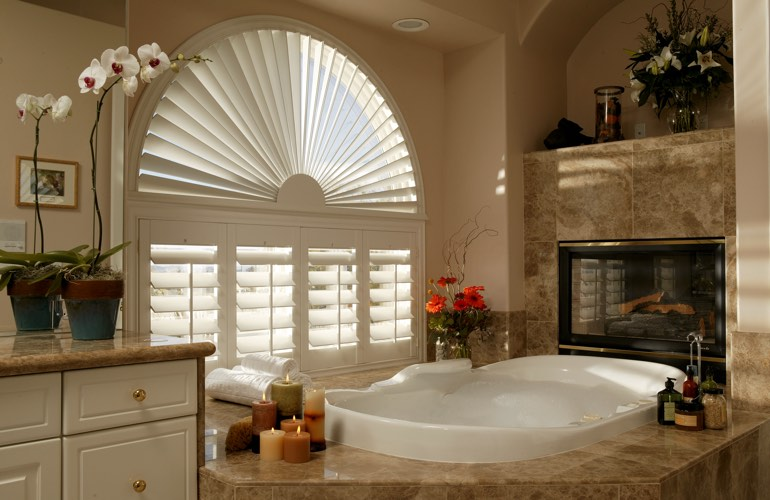 Our Specialists Installed Shutters On A Sunburst Arch Window In Jacksonville, FL